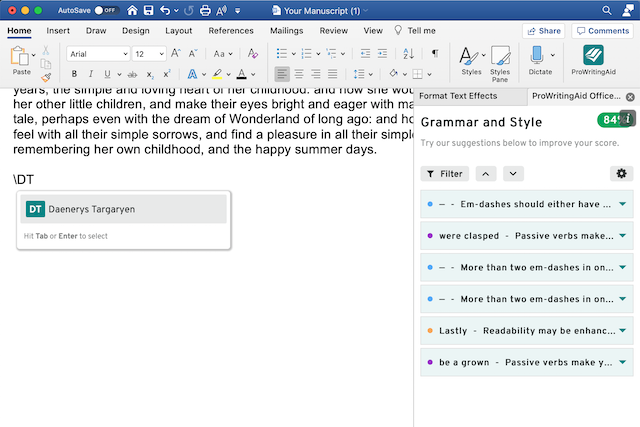 snippets in word