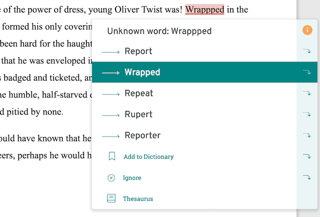 spelling error in ProWritingAid