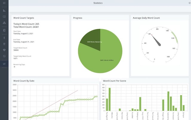 statistics screen with charts