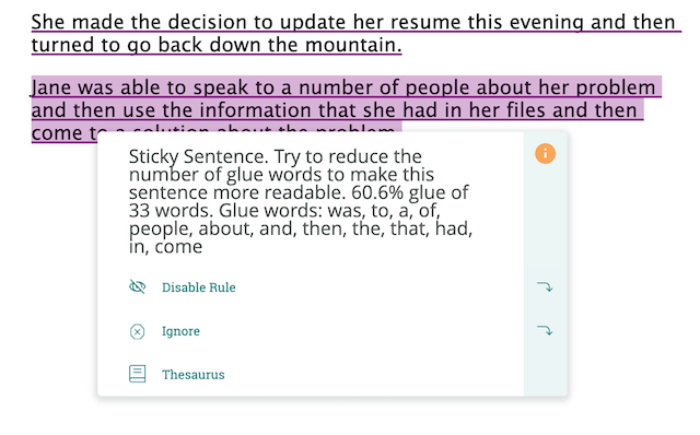sticky sentences suggestion in ProWritingAid editor