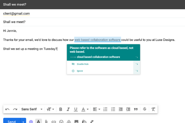 style guide rule in Gmail