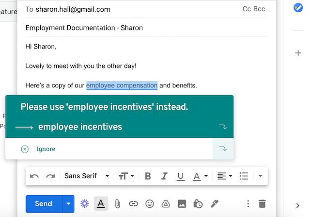 "suggestion of ""employee incentives"" in an email"