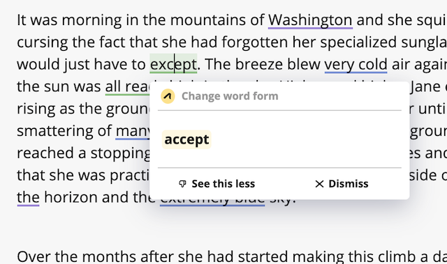 sample suggestion in outwrite showing correction of except to accept
