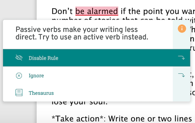 passive verb suggestion in prowritingaid