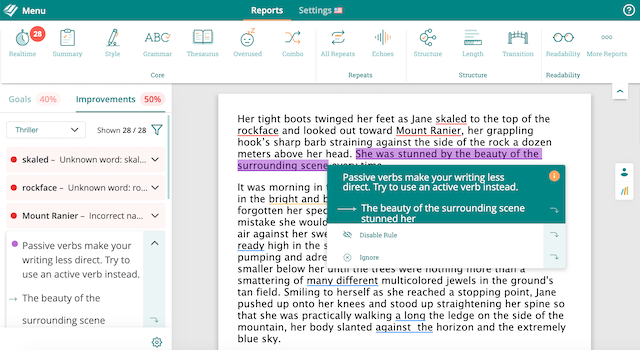 screenshot of suggestion in ProWritingAid web editor