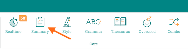 summary report icon—a clipboard—in the ProWritingAid toolbar