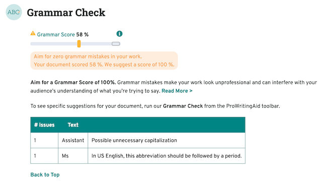 grammar section of the summary report