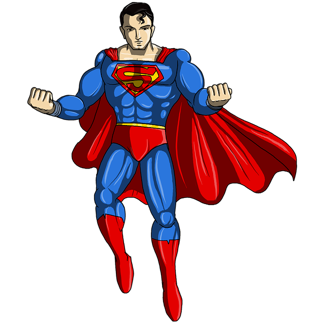 Superman, shown here posing, is a prime example of an omnipotent character.
