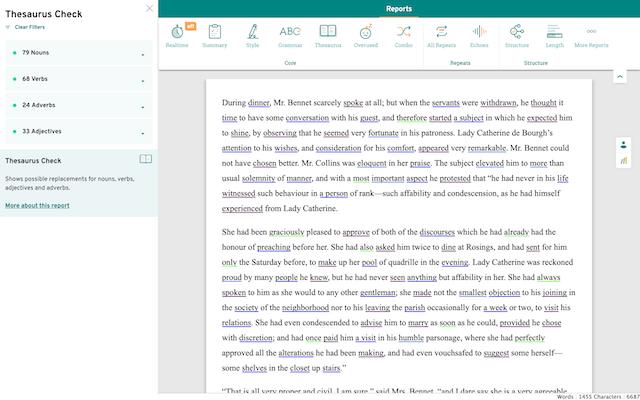 screenshot of the prowritingaid thesaurus check