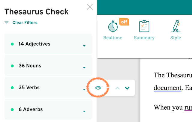 screenshot of prowritingaid thesaurus navigation, with eye symbol circled