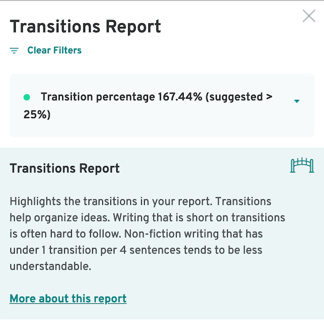 ProWritingAid Transitions Report
