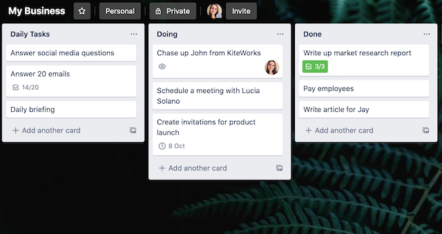 example of a trello board with three lists