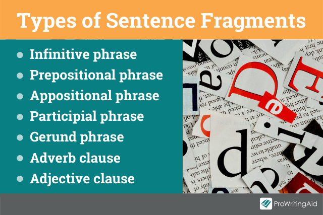 The different types of sentence fragments