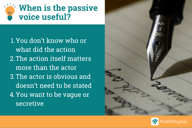 Image showing when the passive voice is useful