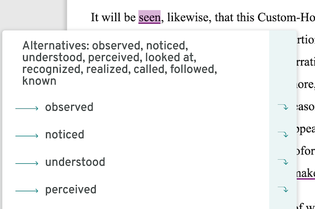 screenshot of verb synonyms in prowritingaid thesaurus report