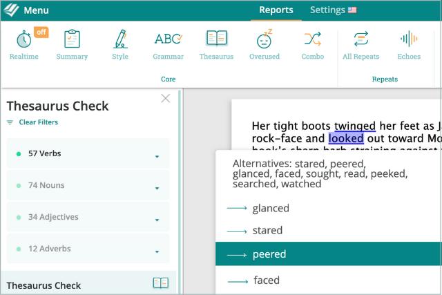 screenshot of prowritingaid's thesaurus report