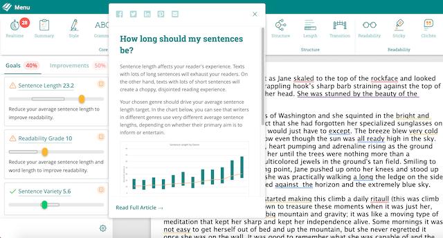 learning resource window in prowritingaid web editor