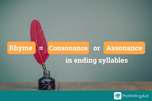 rhyme is assonance or consonance in the end syllable