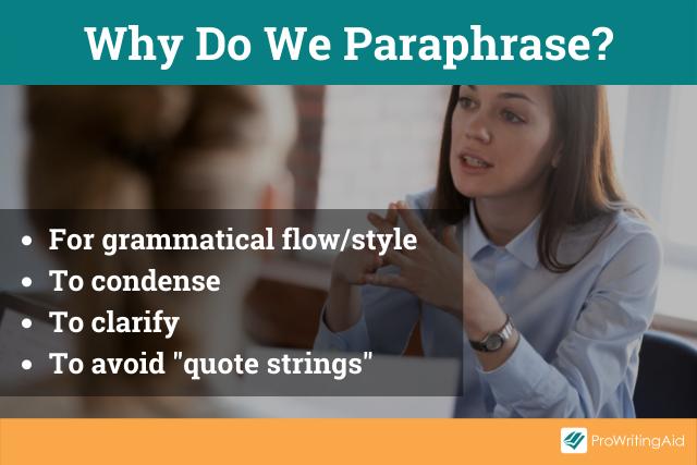 The purpose of paraphrasing