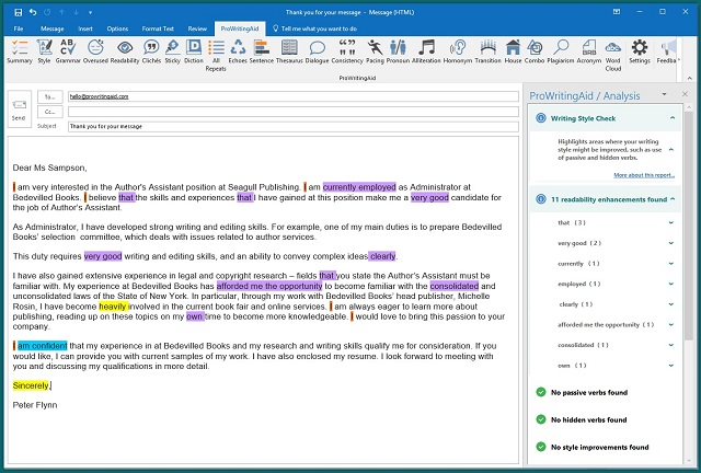 ProWritingAid in Outlook