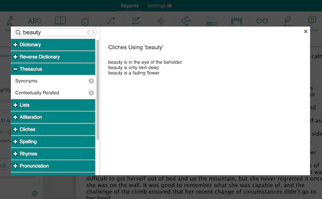 word explorer in prowritingaid showing cliches for the word beauty