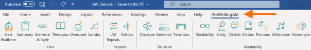 prowritingaid tab in word