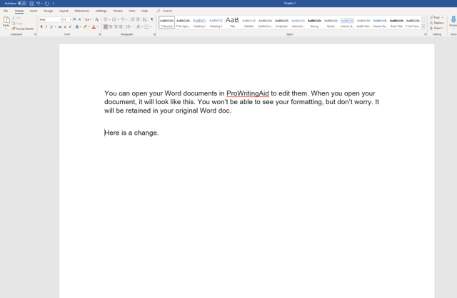 ProWritingAid edits saved in Word