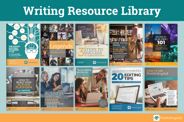 Screenshot of resources available to writers with ProWritingAid